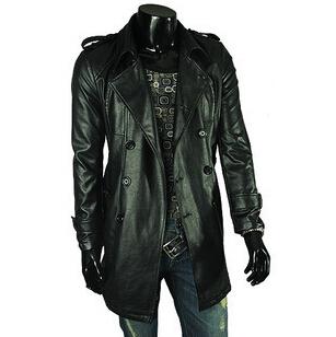 Gentlemen's Fashion Slim Black PU Leather Jacket Coat Winter Long Jaqueta Motorcycle Big Turn-down Collar Winter Men's Jacket(China (Mainland))