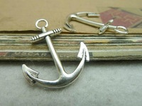 Min.order is $8(mix order) 30pcs 25*31mm Vintage Antique silver anchor Charms Pendants connector Finding Free Shipping C7049