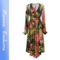 New arrival 2014 summer bohemian style printed women chiffon sunscreen dresses full sleeve woman long dress