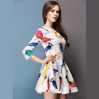 woman chiffon dress with colorful tropical birds printed half sleeves for wholesale and free shipping haoduoyi
