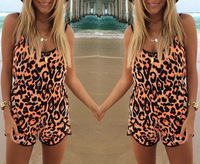 Free shipping New Fashion leopard black less playsuit Jumpsuits women summer rompers