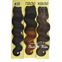 "New Body Wave Ombre Real Hair Mixed Animal Hair Extensions Two-Tone Hair Extensions 10""-24"" 100g/pc 6Packs/lot Color Black"