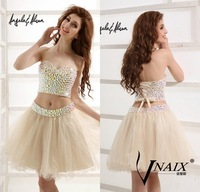 Vnaix SV003 2014 New Arrival Sweetheart Neck Cocktail Dress Pink Blue Mini Short Crystal Prom Dress