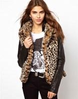 women coat fur new 2014 fashion patchwork leopard slim desigual leather cardigan warm faux fur autumn winter women jacket 8185