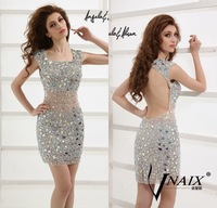 Vnaix SV004 2014 New Fashion Neck Cocktail Dress Sexy Mini Crystal Prom Dress Short