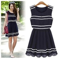 2014 New Arrival summer  women fashion casual navy blue dress Free shipping