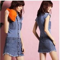 Fall 2014 Top Quality Brand design Charming Blue Denim and Knit Dress 140708LJ03