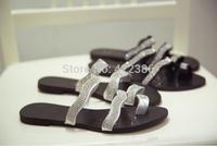 Hot selling Fashion women Summer Street style Rivet Flip-flop flats Women's Shoes Free shipping LT008
