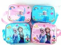 2014 new PVC kids Frozen bag frozen lunch bag Crystal pink blue diagonal lunch boxes for children shoulder messenger ice bag