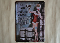 BEERS Antique Imitated Retro 15*21cm Metal Paintings/ Wall Hanging Tin Plates for Home/Bar Decoration