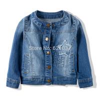 Free shipping 2014 spring &autumn girls jacket Top quality denim outerwear hot selling elastic denim jacket kids jackets