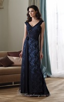 Full length Strapless Chiffon Mother Dress of Brides Dress , Red Carpet Dress 2014 Embellished with Beads