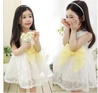 Summer Girl Puffy dress Dancing clothing Princess Tutu Dress Elegant Beige lace lovely bowtie dress Kids clothing 3-6 ages