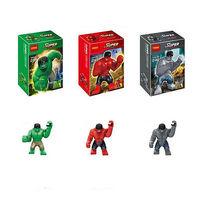 Decool 3pcs Building Bricks Blocks super heroes the avengers big GREEN RED GRAY HULK Action mini Figures minifigures kids Toys