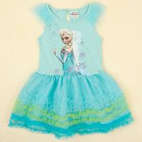 2014 New Summer Children's Snow Cartoon Printed Chiffon Dress Fashion Romantic European-style Round Neck Sleeveless Dress Girl