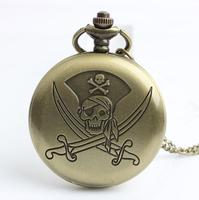 Vintage Pirate Skull Cross Pocket Watch Necklace, 12pcs/lot, free ship, 4.7cm