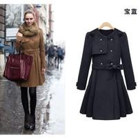New 2014 Autumn Winter Coat Wool European Double-Breasted Outerwear Wool Coat Women Medium-Long Jackets Drop Ship 8118