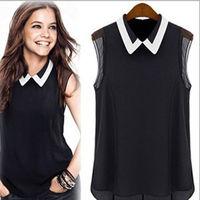 Women Summer Loose Casual Chiffon Sleeveless Vest Shirt Tops Blouse Black White