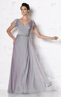 A-line Short Sleeve Chiffon Mother Dress 2014 ,Evening Dress Embellished with Beads on Waist