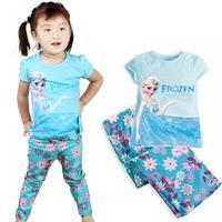 fashion summer Frozen children clothing set,short sleeve Frozen Princess Elsa Kids pajama sets,baby girls Frozen Pijama sets 8