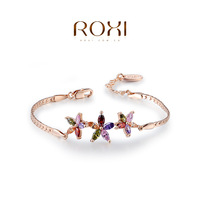 ROXI brand Rose Gold plated colorful folower multi color crystal bracelets & bangles ,fashion girl' jewelry,106027600
