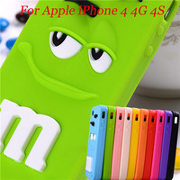 2014 Cute colorful M$M rainbow bean scented Soft silicone 3D Eye/Mouth cover case For iphone 4 4s
