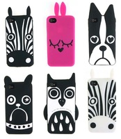 arrival Marc Creatures Silicone Case for iPhone 4 4s with original package,owl cat dog case