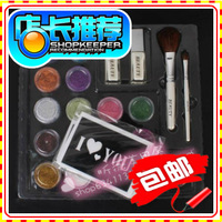 Free shipping temporary body paint Colored drawing tattoo tool set 17 colors glitters and glue and brush and 20 pieces stikcers