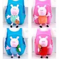 2014 Hot Pepa Pig Baby Kindergarten Backpack 32cm Peppa Pig Family Plush Bags Backpack Children Toys Best Gift For Kids Girl