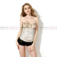 Sexy Body Women Beige Lace Up Bustier Top Waist Trainer Corset Showgirl Costumes Bra Top Corset Women Clothing