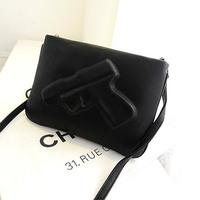 2014 New Design Women and Men Fashion Messenger Bags 3D Cartoons Bag Pistol Clutch bag PU Leather Evening Bags