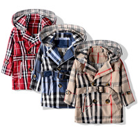 2014 new medium-long children's clothing casual plaid  trench boy&girl koreal style children outerwear boy coat Free shipping