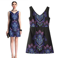 2014 spring and summer women's European and American style positioning printed V-neck vest dress sleeveless dresses az0014