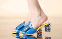 Summer 2014 new leather sandals and slippers with rhinestones in women's fashion crystal thick with fish mouth LT033