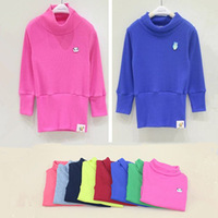 new 2014 autumn fall winter children girl sweet candy color turtleneck base long shirt kids long sleeve top wholesale clothing
