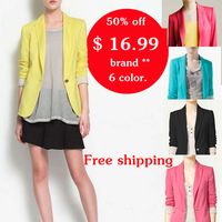 2014 New autumn hot yellow Blazers women's cotton jacket shawl Candy color lined with striped Z suit ladies jaqueta esporte 5