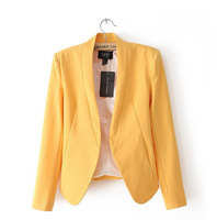 2014 Autumn Slim Fit waist and stand collar women small suit blazer women Shrug yellow Color suit womens white blazers 5
