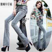2014 Summer women's mid waist bell bottom jeans slim elastic denim long  flare trousers