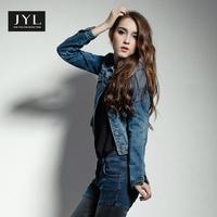 JYL jeans handsome boyfriend short women jean jacket,stylish street style fall jackets for women,metal button up women clothing