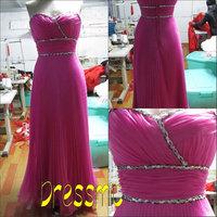 2014 Real Sample Red Elegant Sweetheart Sleeveless Floor-length Long A Line Chiffon Evening Dresses Graduation Dress QB-88