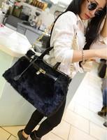 Free shipping Hot Celebrity Tote Shoulder Bags Woman HandBag fashion designer shoulder bag Girl Faux Leather Handbag with fur