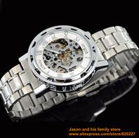 2014 New SilverSkeleton Analog Mens Mechanical Automatic Wrist Steel Band Watch