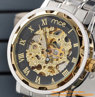 2014 MCE steel Sport Wrist Men Automatic Skeleton Mechanical Watch