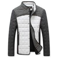 S-5XL size autumn and winter slim men's short design grid-stitch outerwear woolen patchwork PU color block thin wadded jacket