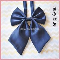 Women Girl Sailor School Pre-tied Satin Bowtie Bow Neck Tie Cravat Navy Blue