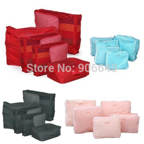 Free Shipping Portable 5pcs/set Travel Packing Cubes Clothes Organizer Storage Bag Waterproof(China (Mainland))