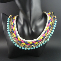 Newest Style Bib Neon Chunky Choker Ethnic Turquoise Multicolor Beaded Handmade Chain Jewelry Statement Necklaces For Women