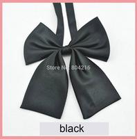 Women Girl Sailor School Pre-tied Satin Bowtie Bow Neck Tie Cravat Black b