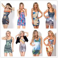 2014 Summer Black Milk New Style Digital Print Women Tank Dress Sleeveless Female Mini Dress Sexy Club Short Dresses