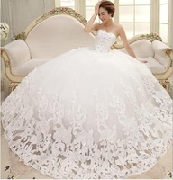 Free shipping 2014 New arrive fashion wedding dress, Han edition inclined flowers Sweet princess